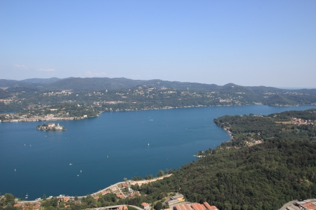 orta: aerial view of  Orta Lake , Piedmont, Italy