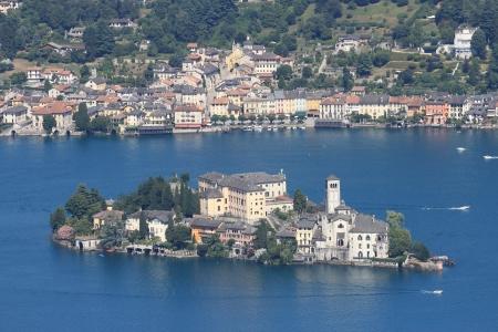 San Giulio isle in Orta Lake , Piedmont, Italy