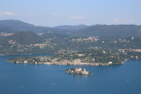 San Giulio isle in Orta Lake , Piedmont, Italy photo