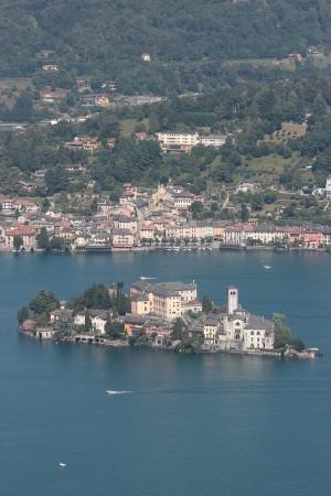 orta: San Giulio isle in Orta Lake , Piedmont, Italy