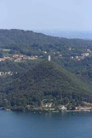 orta: Buccione tower on lake Maggiore, aerial view