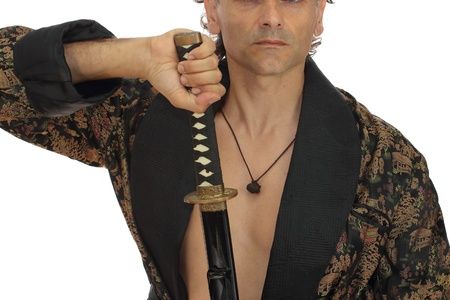 man with katana sword over white photo