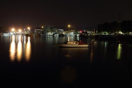 arona: dockyard at night in Arona, Italy Stock Photo