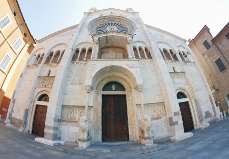 romanesque: Domo facade , romanesque Cathedral in Modena, Italy Stock Photo