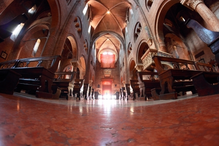 MODENA, ITALY - AUGUST 30: Romanesque interior of the Duomo in a wide-angle view on August 30, 2013 in Modena, Italy
