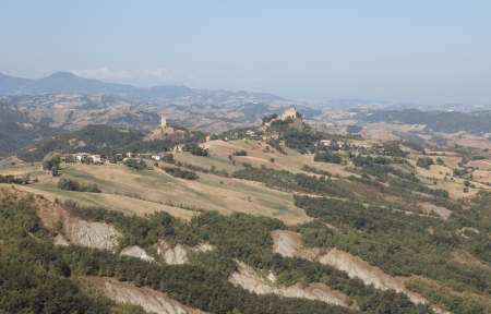apennines: overview of the Rossena ancient town in Reggiano apennines, Italy