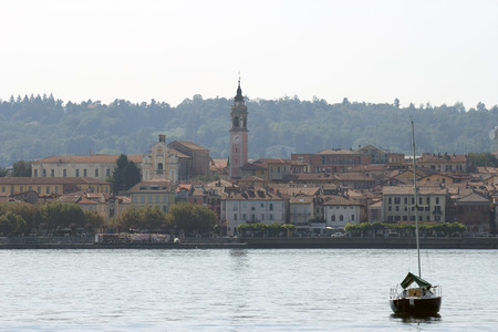 arona: View of Arona town from Maggiore Lake, Italy Stock Photo