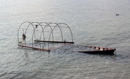 sunk: old boat sunk in Maggiore Lake, Italy Stock Photo