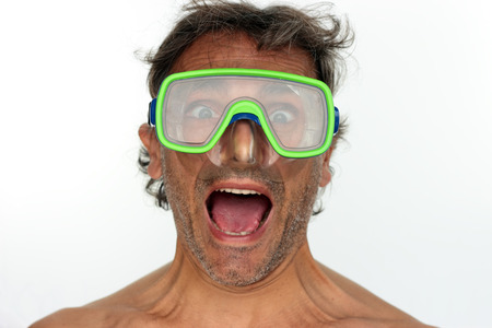Man with goggles. Studio shot. White background photo