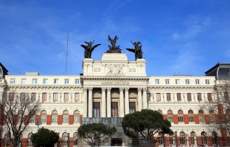 agricultura: MADRID - MARCH 2  beautiful government palace facade the Ministry of Agriculture building close to the Atocha railway station on March 2, 2013 in Madrid, Spain  Ministerio de Agricultura, Pesca y Alimentación de España Editorial