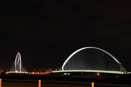 emilia: bridge at night in Reggio Emilia, Italy