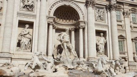 goddesses: The famous Trevi Fountain in Rome, with two tritons taming the sea horses hippocamp, and goddesses Abundance and Health standing on the two sides of Oceanus