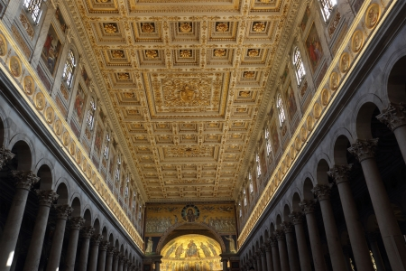 ROME - OCTOBER  21: The rich ornated ceiling of the Papal Basilica of St Paul Outside the Walls October 21, 2013 in Rome, Italy