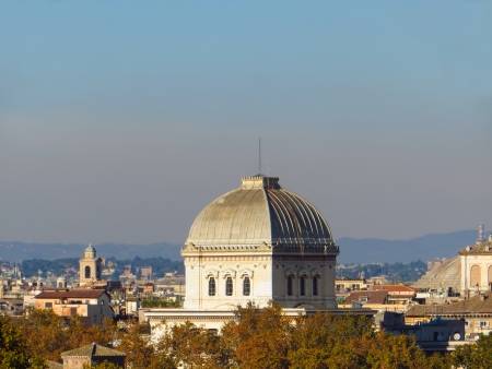 Overview of Rome with the Great Synagogue dome Stock Photo - 24456038