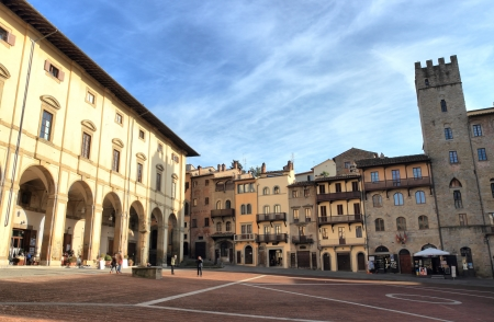 noteworthy: AREZZO, ITALY - JANUARY  12: The Piazza Grande is the most noteworthy medieval square in town on January 12, 2014 in Arezzo, Italy.