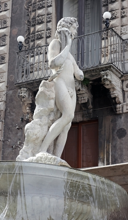 catania: The fountain of Amenano in Catania, Italy
