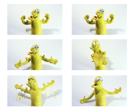 spasm: clay charcter flexing muscles, cartoon sequence