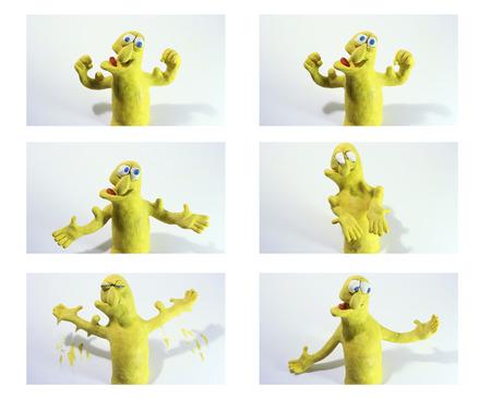 deportes caricatura: m�sculos charcter arcilla flexi�n, la secuencia de dibujos animados