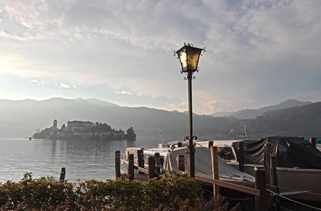 San Giulio isle on Orta Lake, Piedmont, Italy