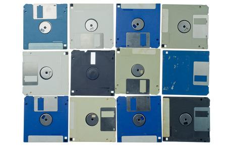 isolated floppy disk retro technology background
