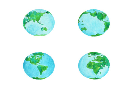 ar: watercolor illustration set of the planet Earth Stock Photo
