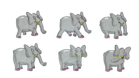 cartoon elephant illustration, animation sequence