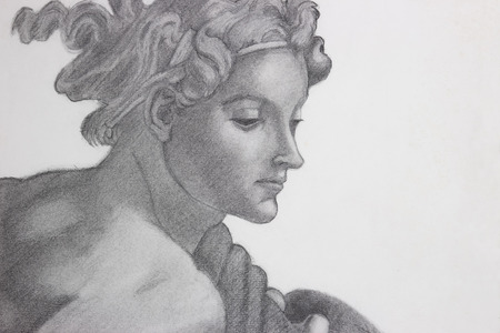 pencil drawing copy of Michelangelos painting
