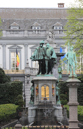 egmont: BRUXELLES, BELGIUM - APRIL 23, 2014  The statues in honor to the Counts of Egmont and Hornes in the beautiful gardens Place du Petit Sablon