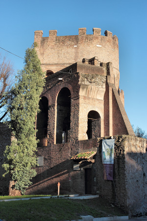 gatehouse: The Porta San Paolo is one of the southern gates in Aurelian Walls of Rome, Italy  The Ostiense Museum is housed within the gatehouse