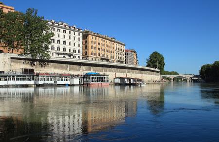 tiber: Houseboats on tiber river, Rome, Italy Stock Photo