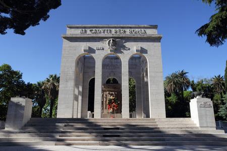 fascist: the Mausoleo Ossario Garibaldino erected in 1941 on the Janiculum Hill in Rome, Italy