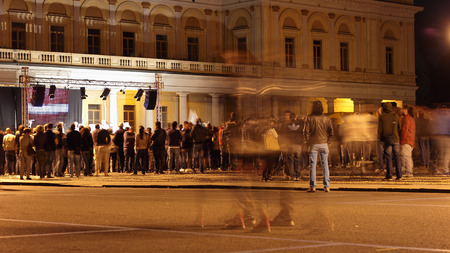 martiri: NOVARA, ITALY - MAY 14, 2014: people in Martiri square assist at the Beppe Grillos party rally  Editorial