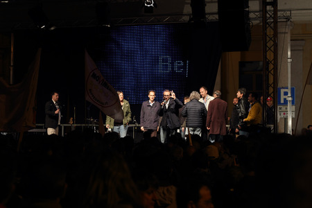 bono: NOVARA, ITALY - MAY 14, 2014: Davide Bono, the Piedmont candidate with Five Stars Movement leader Beppe Grillo at a party rally in Martiri square Editorial
