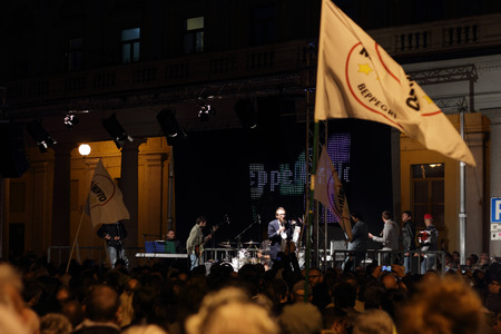 NOVARA, ITALY - MAY 14, 2014: Davide Bono, the Piedmont candidate of the Five Stars Movement, speaks at a party rally in Martiri square Editorial