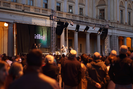 martiri: NOVARA, ITALY - MAY 14, 2014: five Stars Movement political rally in Martiri square