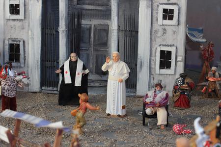 presepe: Pope Francis I Jorge Mario Bergoglio in a miniature