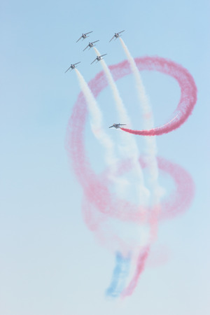 ROME, ITALY - 28 JUNE, 2014:  Patrouille de France make their show at the Rome International Air Show. Event held in Ostia beach