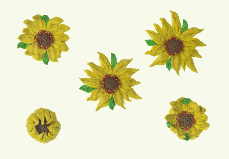 sunflower plasticine set over white with clipping path