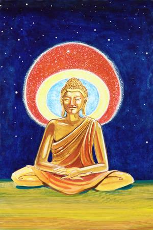 nirvana: Illustration of a Golden Buddha meditating
