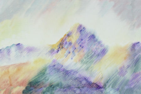 inspired: Watercolor illustration inspired by Cezannes Mountain painting landscape Stock Photo