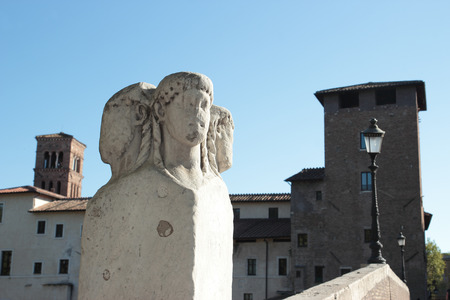 janus: The Pons Fabricius or Ponte dei Quattro Capi (four heads) refers to the two marble pillars of the two-faced Janus herms on the parapet this is the oldest Roman bridge in Rome, Italy.