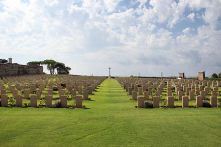 World War II Allied cemetery in Anzio, Rome, Italy