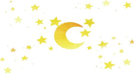 luna caricatura: las estrellas y la ilustraci�n de estilo de dibujos animados luna sobre blanco Foto de archivo