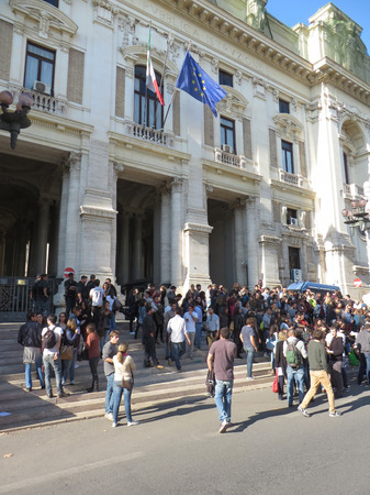 specialization: ROME, ITALY - NOVEMBER 3, 2014: Protest in front of the MIUR, Italian  Ministry of Education Universities and Research, against the failing in organize an open competitive exam for Medicine specialization
