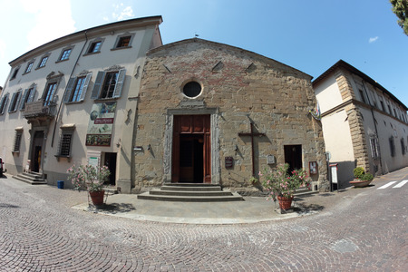 16th: SANSEPOLCRO, ITALY - JULY 16, 2014: The 16th century San Rocco church and the Aboca  herbs and herbal medicine museum Editorial