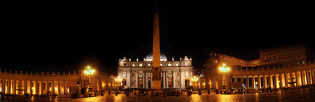 saint peter: ROME, ITALY - NOVEMBER 8, 2014: people in Saint Peter square with illuminated dome of Saint Peter basilica at night