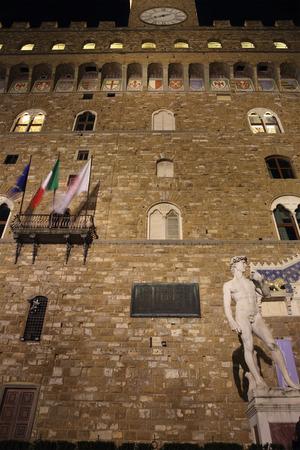 signoria square: FLORENCE, ITALY - DECEMBER 7, 2014: David statue at night in Piazza della Signoria square. The masterpiece by sculptor Michelangelo at the entrance of palazzo Vecchio Editorial