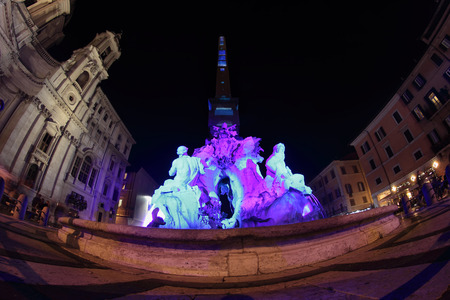 navona: Special Christmas lights in Piazza Navona at night, Rome, Italy Stock Photo