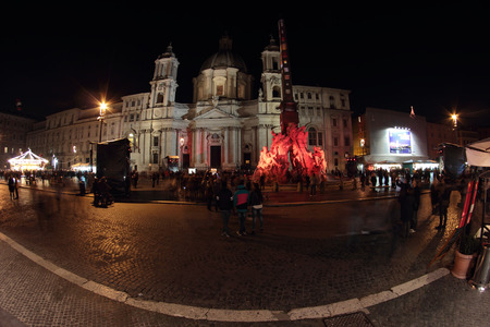 Special Christmas lights in Piazza Navona at night, Rome, Italy Editorial