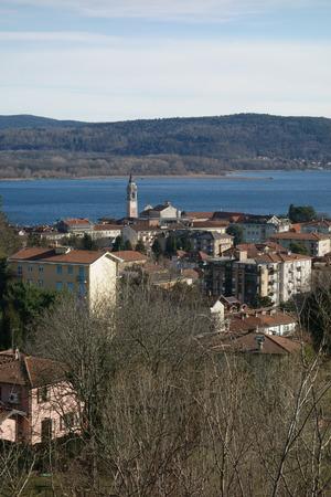 arona: Arona town along Maggiore Lake overview, Italy